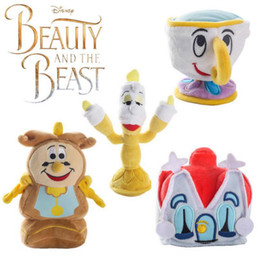 Wholesale Candle Teapot - Beauty and The Beast Plush Dolls Teapot Cup Candle Holders Kids Soft Plush Stuffed Dolls OOA2426
