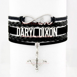 Wholesale Bow Bangles - Custom-Infinity Love Daryl Dixon from The Walking Dead Bow and Arrow Bracelet Wax Cords Leather Bracelet Adjustable Bangles-Drop Shipping