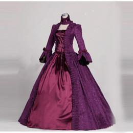 Vestidos de fiesta victorianos del renacimiento online-Vestido victoriano púrpura vestido gótico Brocade vestido de bola Renacimiento Vestido victoriano vestido Steampunk vestido de fiesta de Halloween