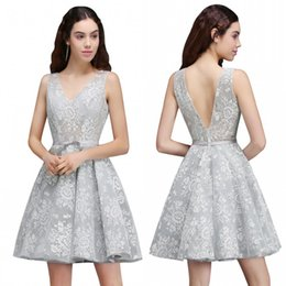 Wholesale Cheap Homecoming Sashes - Cheap Under $40 Silver Lace Homecoming Dresses 2017 Real Pictures A Line Backless Short Cocktail Party Gowns Mother Dress CPS680