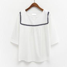 Wholesale Korean Style Striped Shirt - harajuku shirt women 2017 summer style korean ulzzang kawaii rock national wind retro cute navy striped t-shirt women tops