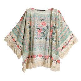 Wholesale Bat Winged Tops - Wholesale- Summer Fashion Women Floral Print Cloth Tassels Shawls Coat Short Bat wing Cardigan Tops Blouse