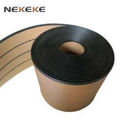 Wholesale Cover Decks - 25 Meter Roll 200mm Wide Synthetic Teak Decking With Black Caulking Line Stripe new style Yacht deck mat