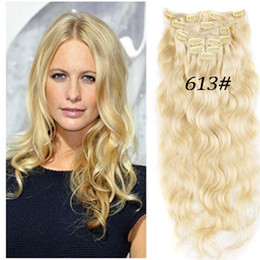 Wholesale Body Wave Hair Extension Clips - 7A 613# light blonde Remy Clip In Human Hair 70g 100g 120g 140g 160g 180g 7 8 10pcs Virgin Brazilian body wave Clip In Hair Extensions