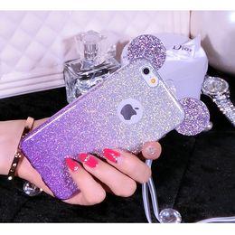 Wholesale Ear Gels - Bling Glitter Gradient Mickey Minnie Ear Soft TPU Gel Case For iPhone 5 SE 6 6S Plus Samsung Galaxy S7 Edge Huawei Mate 7 8 P9 Mate8
