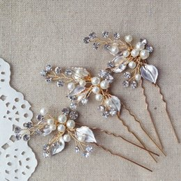 Wholesale Vintage Bride Pin - 3pcs lot Vintage Wedding Hair pins Pearls Bridal Headpiece Handmade Hair Accessories For Brides 2016 Wholesale Bridal Jewelry