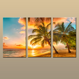 Wholesale Contemporary Pictures - Best Gift Contemporary HD Canvas print 3 Pieces Hot Modern Beach Wall Art Palm Tree Sunset Seascape Painting Decoration For Living Room t241