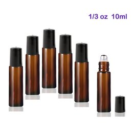 Wholesale Wholesale Roller Bottles - High Quality 300pcs lot 10 ml Glass Roll-on Bottles with Stainless Steel Roller Balls For Essential Oils Amber
