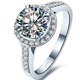 Argentina 1.5CT Excelente anillo de engaste de diamante SONA redondo para mujer Micro pavimentado T Copia de plata de ley esterlina en oro blanco de 18 k bañado Suministro