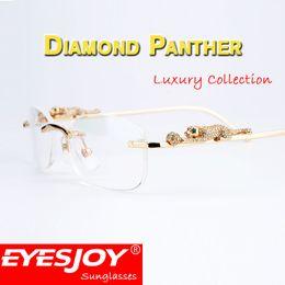 Wholesale mens reading glasses - Diamonds Leopard Reading Luxury Eyeglass Glasses Mens Womens Metal Gold Frame Myopia Eyewear Brand Clear Glasses Original CT6384086