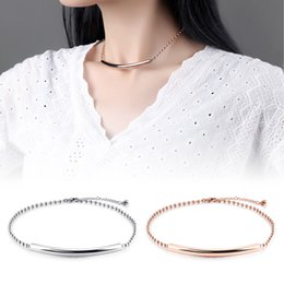 Wholesale Cuff Choker - New Style Women Chain Bracelet + Choker Necklace Stainless Steel Jewelry Fashion Accessories Cuff Bracelets Collar Necklaces Romantic Gifts