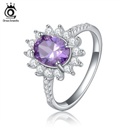 Wholesale Rings Silver Zircon - ORSA jewelry New Trendy 2ct Oval Cut Austrian Zircon Crystal Ring Silver 925 Rings Fashion Ring OR38