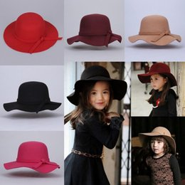 Wholesale Winter Vintage Felt Hat - Hot 2017 Little Girls Vintage Retro Kids Child Girl Hats Fedora Wool Felt Crushable Wide Brim Cloche Floppy Sun Beach Cap Free shipping