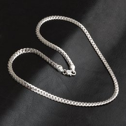 Wholesale Pendant Guarantee Sterling - Fashion 925 Sterling silver plated statement necklace Men 5MM Chunky Necklaces & Pendants Men Jewelry Guarantee long Silver color necklaces