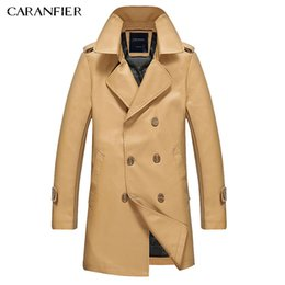 Wholesale Classic British Coats - Wholesale- CARANFIER Men Long Trench High Quality Solid Slim Casual Classic Jacket British Leisure Male Windproof Coat M~XXXL