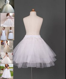 Wholesale Lycra Modal - 2017 White Kids Pettocoat Flower Girls Underskirt For Wedding Custume Crinolina Kids' Accessories A-line 3 Hoops Cheap Crinoline