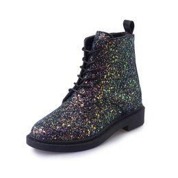 Wholesale Women Shoes Comfortable Heels - Women Ankle Boots Casual Bling Women Boots Autumn Glitter Lace up Boots Flat With Comfortable Women shoes size 35-39