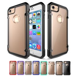 Wholesale Hard Back Case Plastic - Hybrid Rugged Shockproof TPU Hard Transparent Clear PC Back Cover Case For iphone 5s 6 7 Plus i6 i7