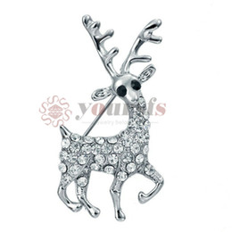 Wholesale reindeer brooch - Yoursfs Luxury Animal Reindeer Crystal Brooch for Women Three Times of White Gold Plated Pins Rhinestone Brooches Banquet Jewelry Broche