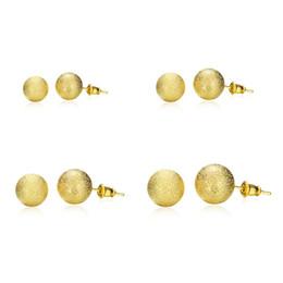 Wholesale Sapphire 8mm - 6mm 8mm 10mm 12mm beads stud earrings golden e060 Fashion 2016 New Jewelry Brincos de Prata