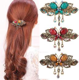 Wholesale Crystal Hair Grips - Wholesale-1 PCS Elegant Women Retro Vintage Crystal Butterfly Flower Hairpins Hair Clip hair grip Barrette headwear hair Accessories