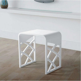 Wholesale Bathroom Benches - Solid Surface Stone Small Bathroom Step Stool Bench Chair Bathroom Steam Shower Stool 16 x 12 inch RS111