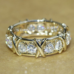 Wholesale Yellow Topaz Rings Women - Vecalon Brand Jewelry Engagement Wedding Band ring for Women 3mm Topaz Simulated diamond Cz 10KT Yellow Gold Filled Female ring