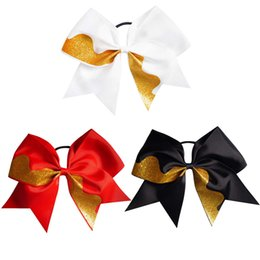 Wholesale White Wave Hair - 12 Pcs lot 7.5 inch High Quality Large Gold Glitter Wave Cheer Bows with Ponytail Hair Holders for Girls Kids Hair Accessories