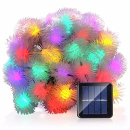 Wholesale White Christmas Twinkle Lights - Wholesale- Solar Powered Puffer Ball Shaped String Light Waterproof LED Twinkle Light for Christmas Garland Outdoor Decoration Lights