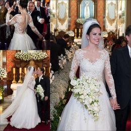 Wholesale See Through Bodice Wedding Dresses - Long Sleeves Wedding Dresses Bridal Gowns 2017 Elegant Lace Appliqued See Through Back Wedding Gowns Illusion Bodice Vestido De Noiva