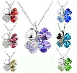 Wholesale Green Clover Charm - Fashion petal necklaced Four Leaf Clover necklace top grade diamond necklace multicolor crystal rhinestone necklace Pendant Necklaces 2337-2