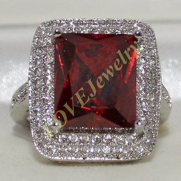Wholesale Women Huge - Size 6,7,8,9,10 Lady's 925 Silver Huge Radiant Red Garnet CZ Pave Set Wedding Ring Jewelry for Women