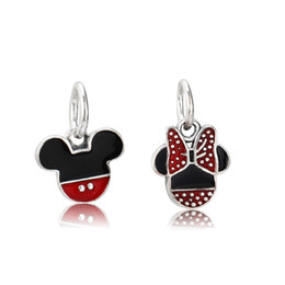 Wholesale Enamel Charms Mix - Authentic 925 Silver Beads D-isney Minnie And Mickey Icon Dangle Charm Mixed Enamel Fits European Pandora Style Jewelry Bracelets & Necklace