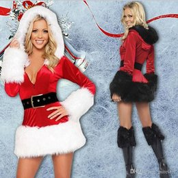 Wholesale Santa Sexy Outfits - Sexy Women Christmas Costume Set 5PCS Santa Claus Mascot Costume Women Velvet Sexy Costume Outfit Party Party Fancy dress With two color