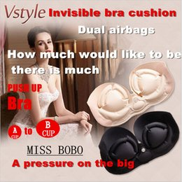 Wholesale Double Bra - Miss double invisairpad bra Sexy Push Up Aerated bra Self-Adhesive Silicone Closure Backless Strapless Bra MISS BRAS Bridal Undergarments