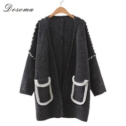 Wholesale Korean Batwing Fashion - Wholesale- women long sweater cardigans thicken 2016 korean style fashion patchwork big pocket cardigan women preppy style girls cardigan