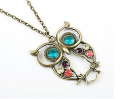 Wholesale Necklace Pendants Dhl - Fashion Jewelry Necklaces Diamond OWL Sweater Necklaces Pendants Statement Metal Crystal Lovely Big Eyes Necklaces Free DHL E697L