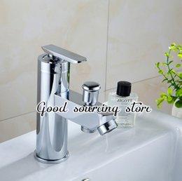 Wholesale Mixer Zinc Faucet - Wholesale- hot and cold water zinc alloy two water outlet bathroom mixer faucet
