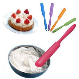 Wholesale Silicone Mixer - Fashion Hot Silicone Cream Spatula Cake Cream Mixer Long Handled Models Baking Scraper Random Color wen4271