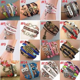 Wholesale Antique Christmas Tree - Hot 37 styles fashion Leather Bracelets Multilayer Friendship Love Heart Tree of Life Jewelry DIY woven Antique Bracelets