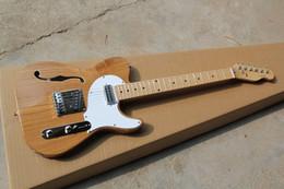 Wholesale Hollow Electric Guitar F Hole - Free shipping 2017 new Semi-hollow electric guitar models TELE single F-hole wood color guitar