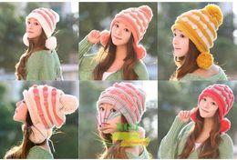 Wholesale Woolen Hats For Women - winter hats for women Woolen Knitting Beanies hat cap female Soft warm head cap for girl adult Cute chapeu feminino 6colors M106