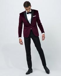 Wholesale Mens Made Measure Suits - 2016 Burgundy Velvet Groom Tuxedos Peak lapel groommens suits Made to measure wedding suits for mens (jakcet+Pants+tie+pocketsquare)