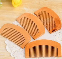 Wholesale Healthy Natural Hair - Wholesale-Natural Walnut Wood Hair Comb Antistatic Hair Brush Portable Peach Wood Comb Hairbrush Women Men Mini Combs Healthy Comb