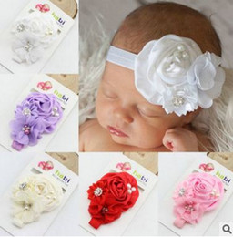 Wholesale Diamond Hair Sticks - Girl hairwear three chiffon flower with pearl and diamond with the elastic shimmery ribbon headband baby headdress freeshipping