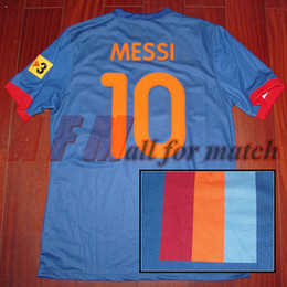 Wholesale Messi Football Player - Rare Gamper Trophy 2009 Match Worn Player Issue S S Messi Iniesta Ibrahimovic Football Rugby Custom Patches Sponsor
