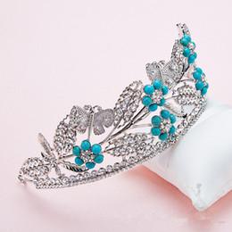 Wholesale Blue Crystal Wedding Headpiece - 2018 Boho Wedding Crown Garlands Headband Hawaii Hanmade Tiaras Wedding Party Evening Accessory Headpiece Rhinestone Crystal Prom Formal