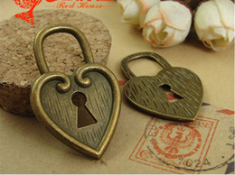 Wholesale Metal Charms Pendant Heart Lock - A3097 25*40MM Retro vintage bulk heart lock charms handmade DIY accessories wholesale, Antique bronze Zinc alloy metal pendant jewelry