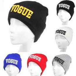 Wholesale Wholesale Cuffed Beanies - 6 Colors VOGUE Beanies Fashion Cuffs Winter Beanie Hip-Hop Hat Gorro VOGUE Beanies Cap Unisex Knitted Wool Cap Winter Beanies CCA6965 50pcs