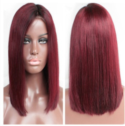 Wholesale Burgundy Bob Wig - Best Quality Sexy Ombre Burgundy Short Bob Straight Wigs With Baby Hair Heat Resistant Glueless Synthetic Lace Front Wigs for Black Women